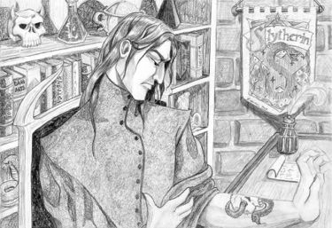 Snape examining his Dark Mark, copyright Bridget Haines.