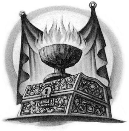 Scholastic frontispiece: the Goblet of Fire on its coffer by Mary GrandPré