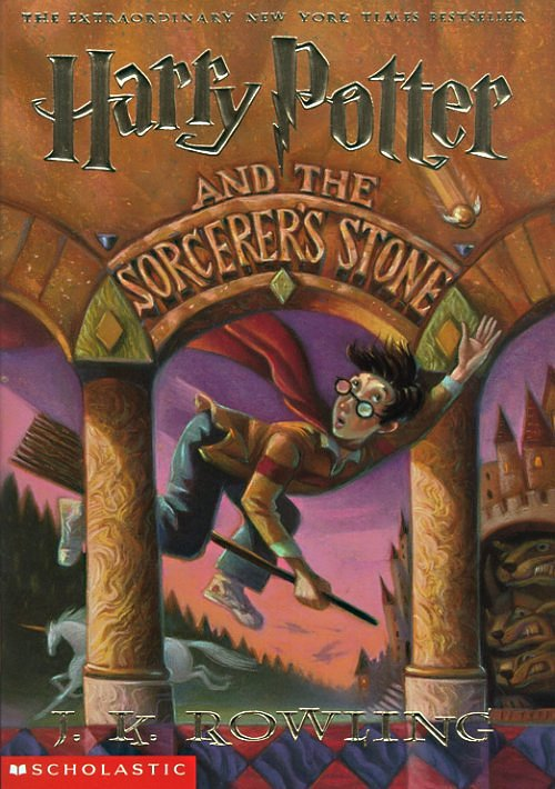 cover art for Harry Potter and the Sorceror's Stone, copyright Mary GrandPre.