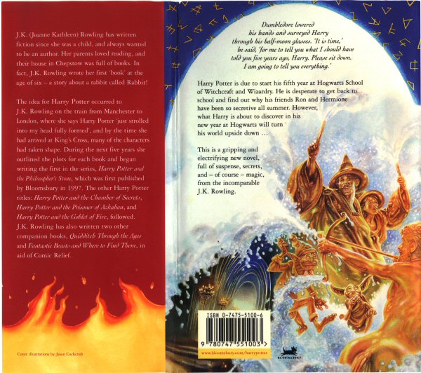 Original Bloomsbury cover art, back (UK)