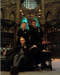 Draco, Crabbe & Goyle in the Slytherin common room.