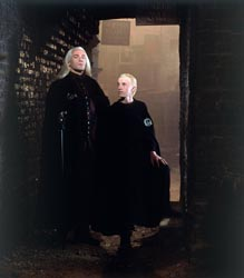 Movie scene: Lucius and Draco Malfoy.