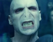 Movie still of Ralph Fiennes as Voldemort