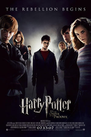 """The rebellion begins"" movie poster for ""Harry Potter and the Order of the Phoenix"" copyright Warner Brothers."