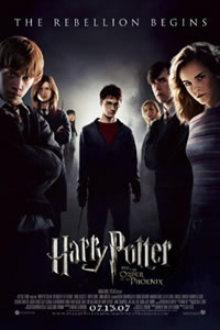 """the rebellion begins"" movie poster for ""Harry Potter and the Order of the Phoenix,"" copyright Warner Brothers."