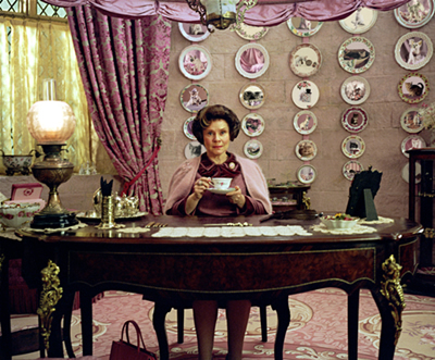 Umbridge in her office at Hogwarts, copyright Warner Brothers, 2006.