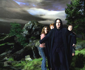 Severus Snape defends the trio from the werewolf.