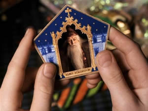 Chocolate Frog card for Albus Dumbledore, copyright Warner Brothers.