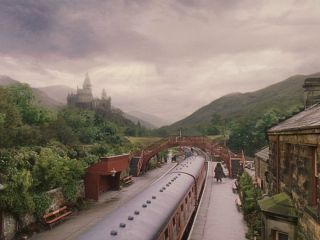 The Hogwarts Express at Hogsmeade Station