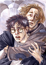 Nooooo! [Lupin keeps Harry from going after Sirius], copyright Jenny Dolfen.