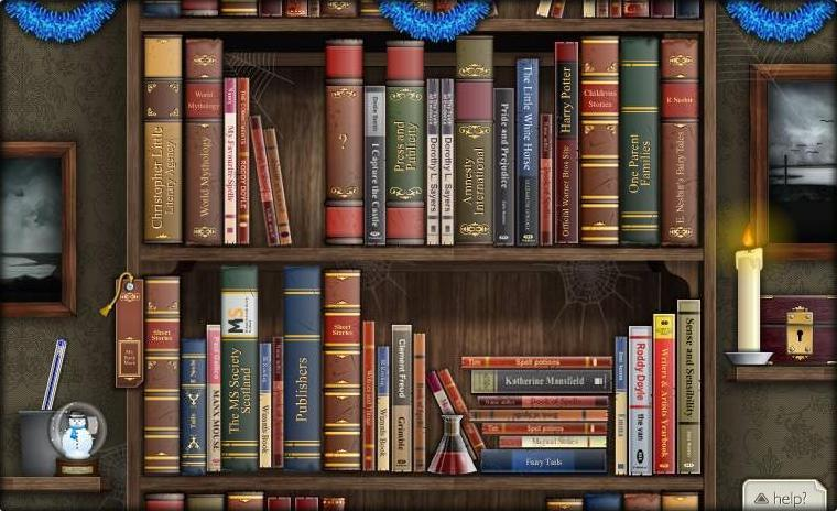 The bookcase decorated for Christmas