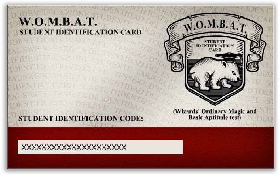 Click to enlarge- WOMBAT Student Identification Card