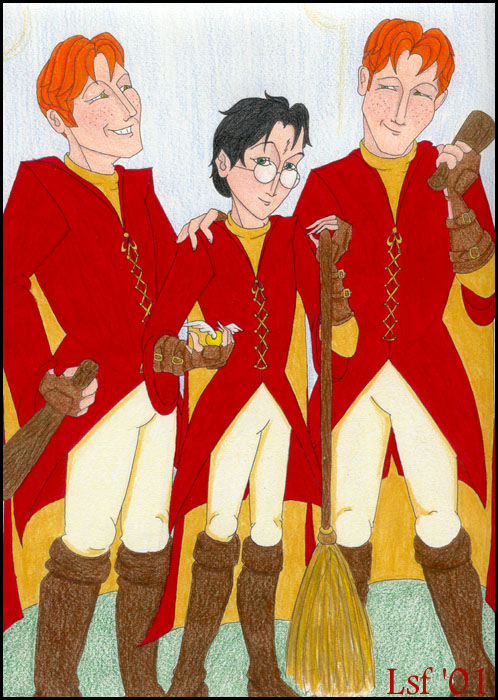 Harry and the Weasley twins in Gryffindor Quidditch gear, © 2001 Laura S. Freeman