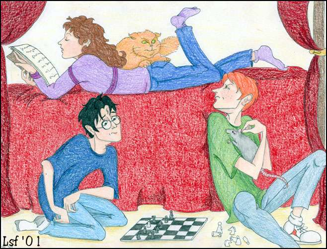 The Trio, Crookshanks, and Scabbers © 2001 by Laura Freeman
