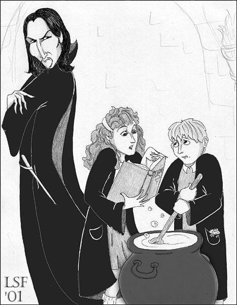 Snape, Hermione, Neville in Potions © 2001 Laura Freeman