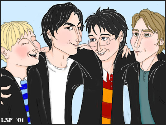 Group Portrait: The Marauders (left to right: Wormtail, Padfoot, Prongs, Moony) © 2001 by Laura Freeman