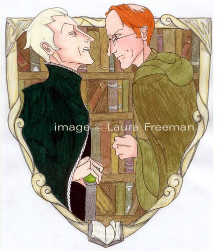 Confrontation in Flourish and Blotts by Laura Freeman