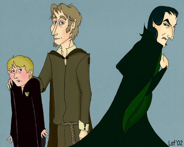 Neville, Lupin, and Snape © 2002 by Laura Freeman