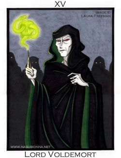 Tarot No. 15: Lord Voldemort, copyright Laura Freeman.