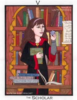 Hermione as Tarot card The Scholar, copyright Laura Freeman.