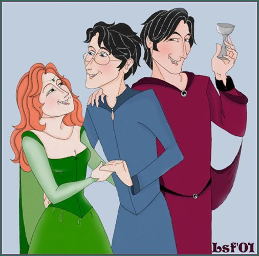 Lily and James' wedding - left to right, Lily, James, Sirius