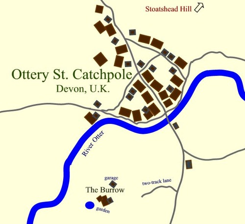 map of Ottery St. Catchpole, Devon, U.K.