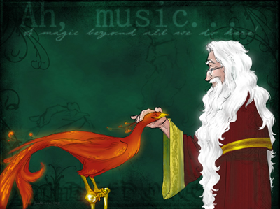 Dumbledore and Fawkes, by Makani copyright 2005