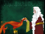 Dumbledore and Fawkes, copyright Makani.