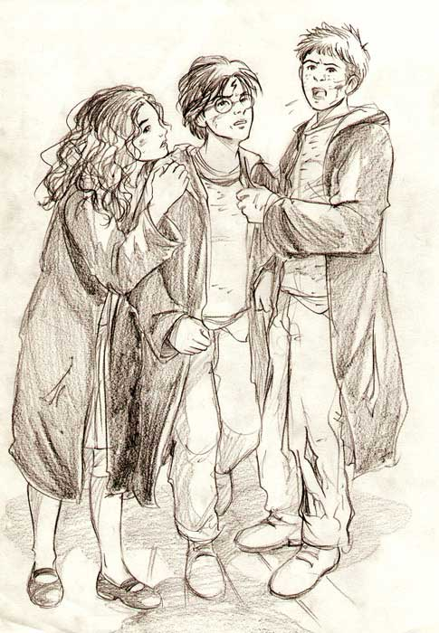 Hermione, Harry, and Ron in the Shrieking Shack by Marta T.