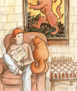 Ron and Crookshanks in the Gryffindor common room.