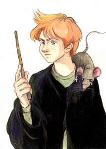 Drawing of Ron and Scabbers.