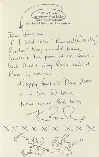 signed book to JKR's father