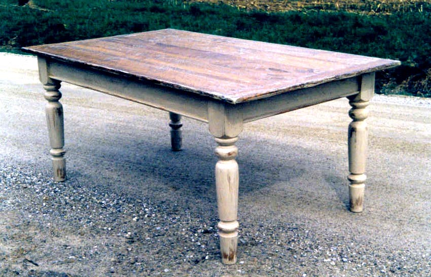 scrubbed wood table by Hawley's Fine Woodworking